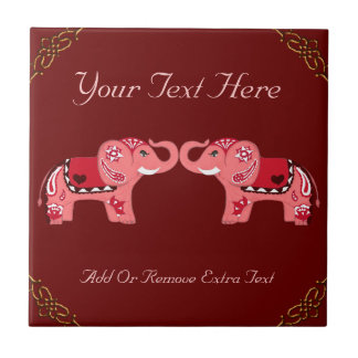 Hennastrauch-Elefant (Rot/Rosa) Kleine Quadratische Fliese