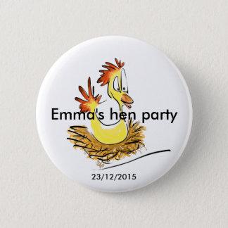 Henne-Party-Abzeichen (Name) (Datum) Runder Button 5,1 Cm