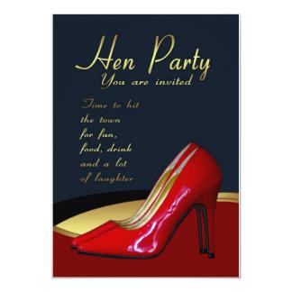 Henne-Party Einladungs-Karte - Henne-Rot beschuht 12,7 X 17,8 Cm Einladungskarte