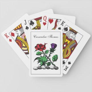 Heraldisches Rosen-u. Distel-Wappen Wappen-Farbe Spielkarten
