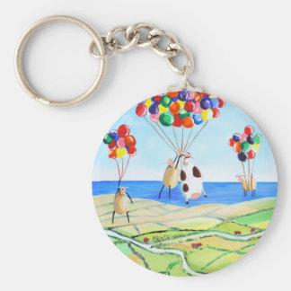 Herauf, herauf und weg Kuh- und Schafballonplakat Schlüsselanhänger