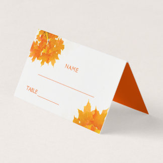 Herbst-Ahorn verlässt Hochzeit Platzkarte