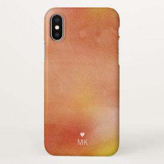 Herbst-Aquarelle - Monogramm u. Herz iPhone X Hülle