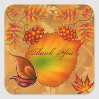 Herbst-Beeren danken Ihnen Quadratischer Aufkleber