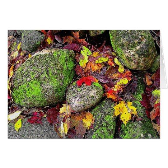 Herbst-Blätter, Feld-Steine, Gruß-Karte Karte