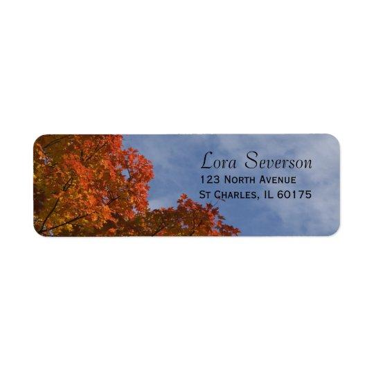 Herbst-Blätter und blauer Rücksende Aufkleber