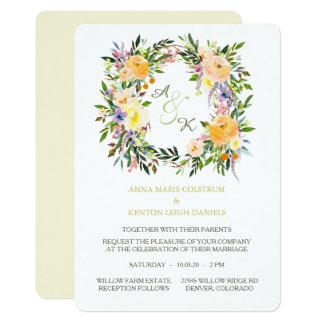 Herbst-BlumenKranz-Monogramm-Hochzeits-Einladung Karte