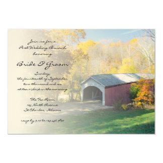 Herbst-Brücken-Posten-Hochzeits-Brunch laden ein Karte