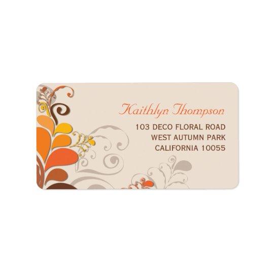 Herbst-Deko-BlumenWirbels-Adressen-Etiketten Adress Aufkleber
