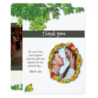 Herbst-Eichedanken ovales Wreath-Foto Ihnen Karte