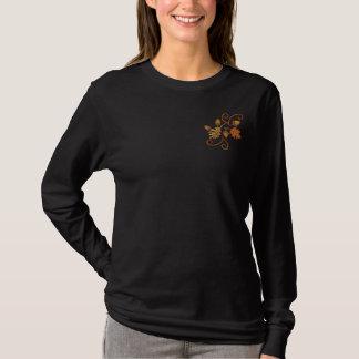 Herbst-Eleganz Besticktes Langarmshirt