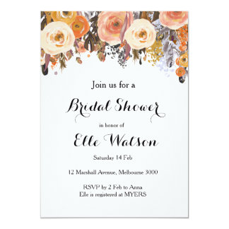 Herbst-Fallblumenchic-Brautparty-Einladung 12,7 X 17,8 Cm Einladungskarte