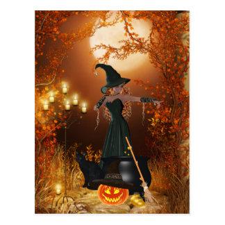 Herbst-Halloween-Hexe Postkarte