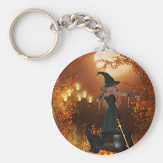 Herbst-Halloween-Hexe Standard Runder Schlüsselanhänger