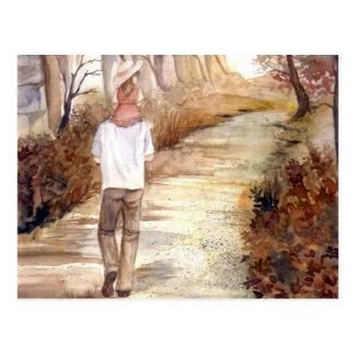 Herbst-HinterAquarell-Malerei Postkarte