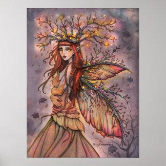 Herbst-Königin-feenhafte Fantasie-Kunst durch Poster