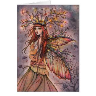 Herbst-Königin-feenhafte Fantasie-Kunst-Karte Grußkarte
