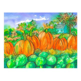 Herbst-Kürbis-Kürbis-Ernte-Aquarell Postkarte