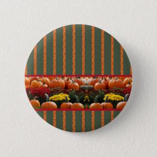 Herbst Kürbis Wiese orange grün Streifen Runder Button 5,7 Cm