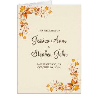 Herbst-Laub-Hochzeits-Programm Grußkarte
