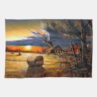 Herbst-Morgen auf dem Bauernhof Handtuch