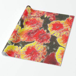 Herbst-orange Blumen-Verpackungs-Papier Geschenkpapier