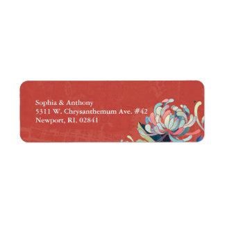 Herbst-rote Blumenhochzeits-Rücksendeadresse Rücksendeetiketten
