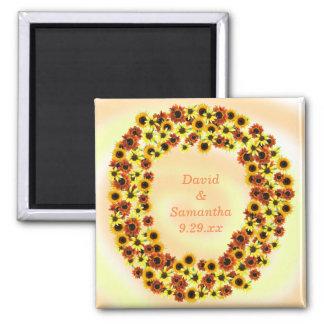 Herbst-Sonnenblumen Save the Date, die Magneten Quadratischer Magnet