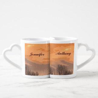 Herbst-Sonnenuntergang-Hochzeits-Liebhaber-Becher Paartassen