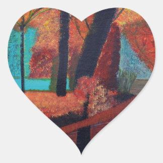 Herbst-Träume Herz-Aufkleber