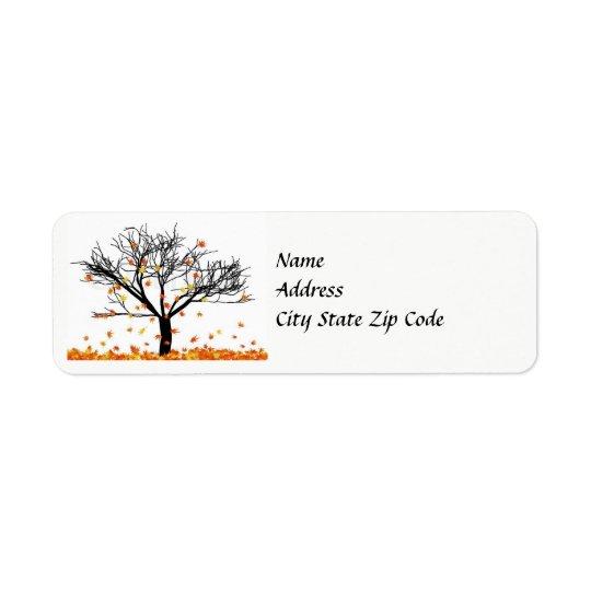 Herbst verlässt Adressen-Etikett Kleiner Adressaufkleber