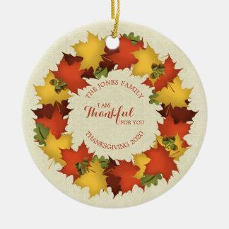 Herbst verlässt ErntedankWreath Keramik Ornament
