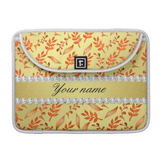 Herbst verlässt Imitat-Goldfolie Bling Diamanten MacBook Pro Sleeve