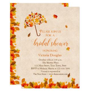 Herbst verlässt Regenschirm-Brautparty-Einladung 12,7 X 17,8 Cm Einladungskarte