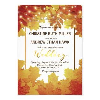 Herbst verlässt Schnur-Lichtern elegante Hochzeit 12,7 X 17,8 Cm Einladungskarte