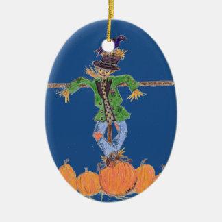 Herbst-Vogelscheuche in einem Kürbis-Flecken Keramik Ornament