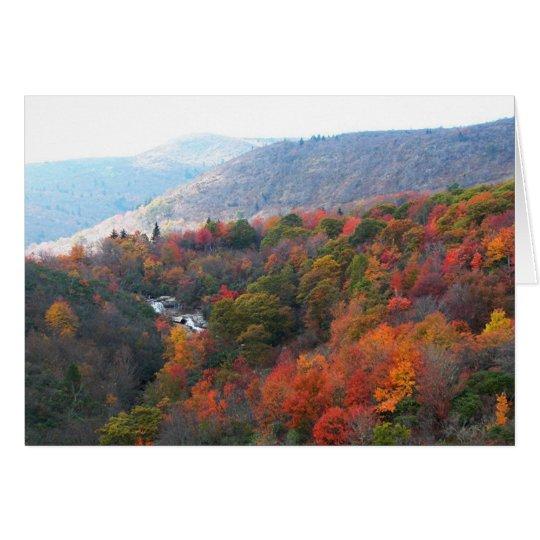 Herbst-Wasserfall Grußkarte
