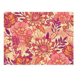 Herbstblumenstraußmuster Postkarte
