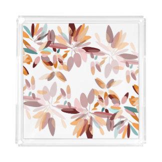 Herbstfarbschwarzer Hintergrund-Laubdruck Acryl Tablett