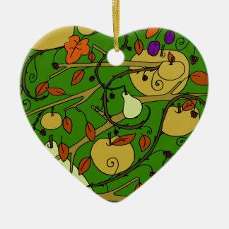 Herbstfrüchte Keramik Herz-Ornament