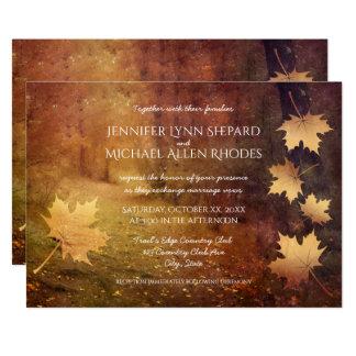 Herbsthinterfallender Ahorn verlässt rustikale 12,7 X 17,8 Cm Einladungskarte