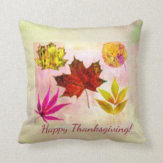 Herbstlaub-glückliches Kissen