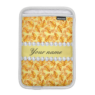 Herbstlaub-Imitat-Goldfolie Bling Diamanten Sleeve Für iPad Mini