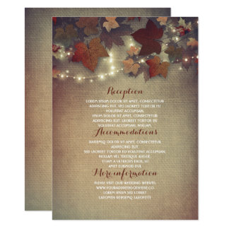 Herbstlaub-rustikale Hochzeits-Details - Karte