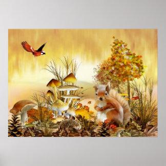 Herbsttiere Poster