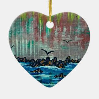 Herbstwald durch Fluss Keramik Herz-Ornament