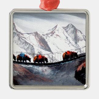 Herde der Gebirgsyak Himalaja Silbernes Ornament