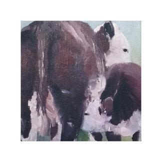 Hereford Kuh-Kalb-Paar-Viehzüchter-Leinwand-Kunst Leinwanddruck