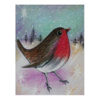 Herr Christmas Robin Postkarte