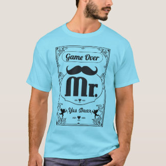 Herr Groom Game Over Yes lieber Mustache T-Shirt